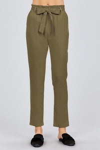 Paper Bag W/bow Tie Long Linen Pants - crespo-cynergy