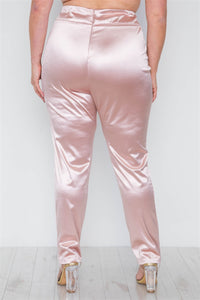 Plus size rose two piece cardigan satin pants set - crespo-cynergy