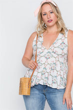 Load image into Gallery viewer, Plus size off white floral print lace up top - crespo-cynergy