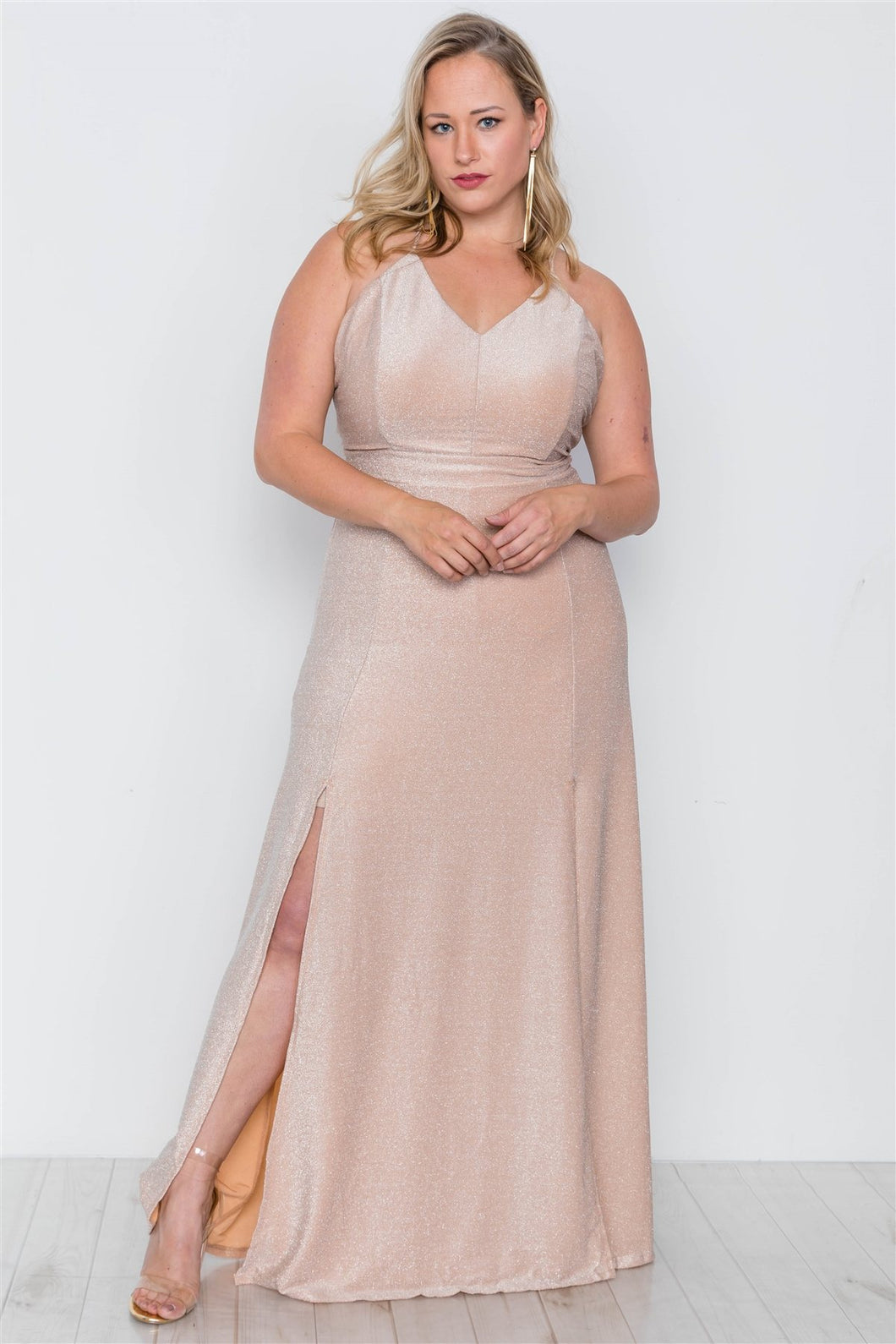 Plus size nude front slits cami evening maxi dress - crespo-cynergy
