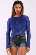 Load image into Gallery viewer, Solid Lace Top With Long Sleeves And Round Neck - crespo-cynergy