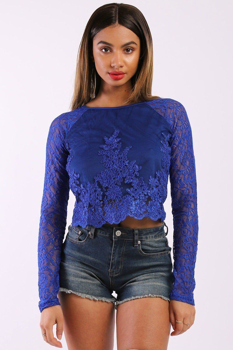 Solid Lace Top With Long Sleeves And Round Neck - crespo-cynergy
