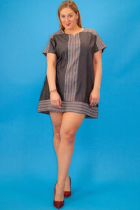 Chambray denim short sleeve striped contrast neckline and trim loose fit short dress with side pockets - crespo-cynergy