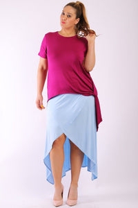 Solid short sleeve tee top with round neck hilo hemline gathered side detail and a long body back tail - crespo-cynergy