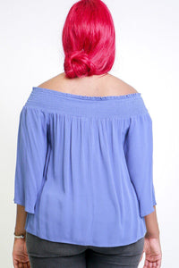 Solid off the shoulders top with smocked neckline 3/4 kimono sleeves loose fitting and a front tie detail - crespo-cynergy