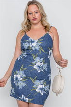Load image into Gallery viewer, Plus size denim blue floral bodycon mini dress - crespo-cynergy