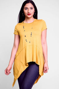 Solid knit tunic top in an oversized fit with a round necklineshort sleeves and asymmetrical hem - crespo-cynergy