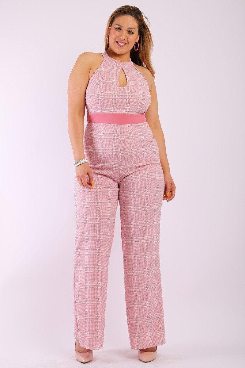 Plaid sleeves jumpsuit with front and back keyhole halter neck contrast solid waist trim and back button closure - crespo-cynergy