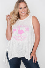 Load image into Gallery viewer, Plus size off white knit graphic tank top - crespo-cynergy