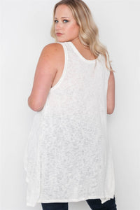 Plus size off white knit graphic tank top - crespo-cynergy