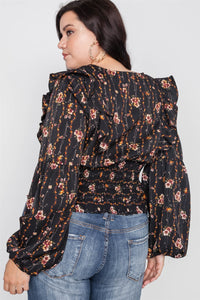 Plus size floral v-neck ruffle long sleeve top - crespo-cynergy