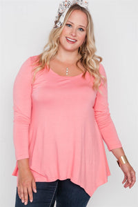 Plus size long sleeve basic top - crespo-cynergy