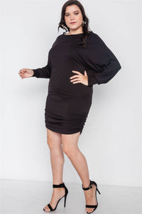 Plus size batwing basic mini dress - crespo-cynergy
