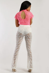 Lace, Full Length, High Waisted Pants In A Bodycon Fit - crespo-cynergy