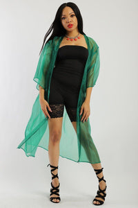 Solid, Organza Chiffon Cardigan With Open Front, Kimono - crespo-cynergy