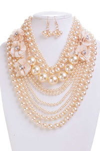 Pearl With Flower Necklace And Earring Set - crespo-cynergy