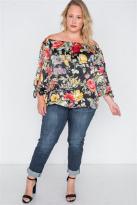 Plus size black floral off-the-shoulder satin top - crespo-cynergy