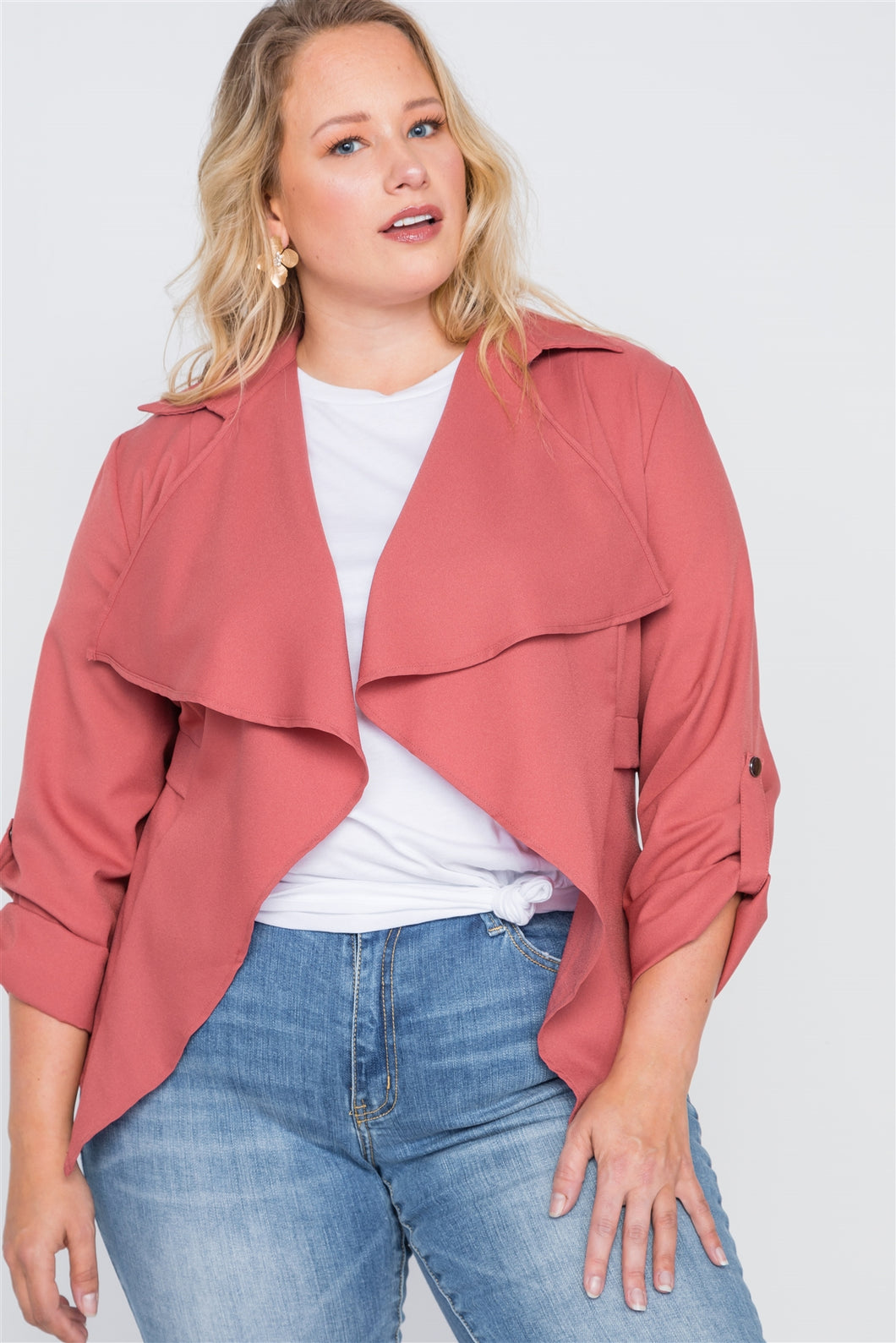Plus size draped open front light jacket - crespo-cynergy