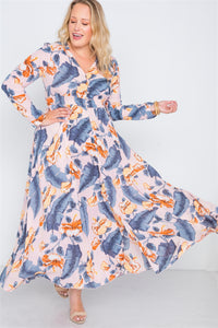 Plus size  floral print button down maxi dress - crespo-cynergy