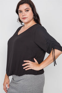 Plus size chiffon v-neck solid top - crespo-cynergy