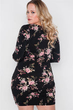 Load image into Gallery viewer, Plus size black floral v-neck long sleeve mini dress - crespo-cynergy