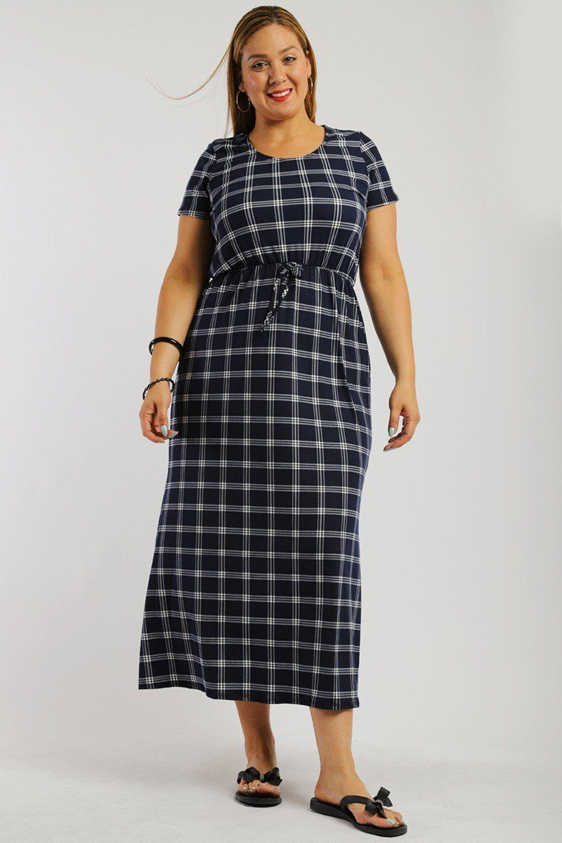 Plaid ankle length maxi dress - crespo-cynergy