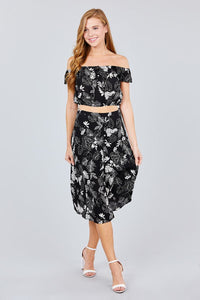 Tulip Sleeve Off The Shoulder Button Down Crop Top And Button Down Midi Skirt Set - crespo-cynergy