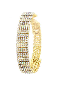 Rhinestone Flexible Metal Bracelet - crespo-cynergy