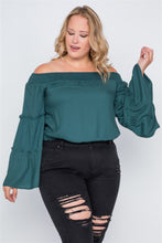 Load image into Gallery viewer, Plus size off-the-shoulders bell sleeve top - crespo-cynergy