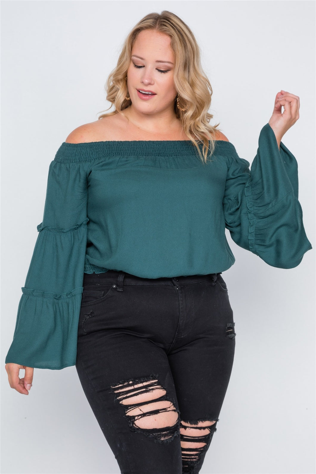 Plus size off-the-shoulders bell sleeve top - crespo-cynergy