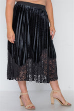 Load image into Gallery viewer, Plus size black velvet pleated lace hem midi skirt - crespo-cynergy