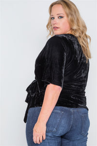 Plus size velvet short sleeve side tie top - crespo-cynergy