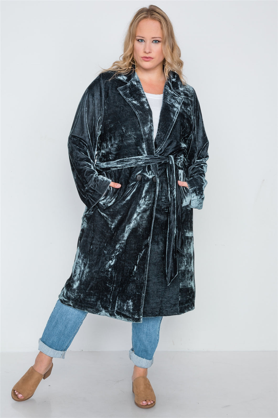 Plus size velvet long sleeve trench coat - crespo-cynergy