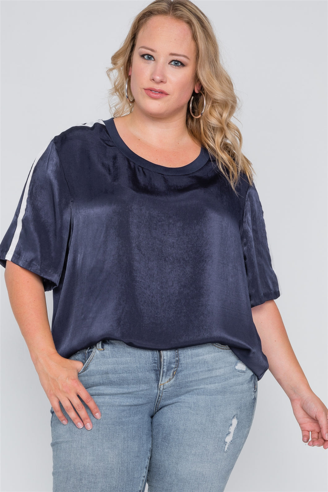 Plus size color block short sleeve top - crespo-cynergy