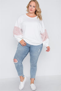 Plus size faux fur pink sleeves sweater - crespo-cynergy