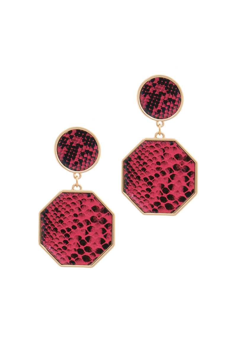 Snake Pattern Octagon Shape Post Drop Earring - crespo-cynergy