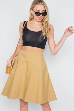 Khaki High Waist Solid A-line Midi Skirt - crespo-cynergy