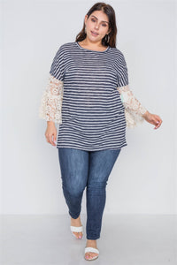Plus size navy taupe stripe lace sleeves knit top - crespo-cynergy