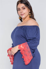 Load image into Gallery viewer, Plus Size Off-the-shoulder Lace Hem Dress