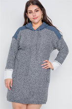 Load image into Gallery viewer, Plus size charcoal knit hooded soft sweater dress - crespo-cynergy