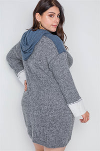 Plus size charcoal knit hooded soft sweater dress - crespo-cynergy
