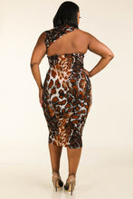 Load image into Gallery viewer, Leopard around the neck sleeveless bodycon dress - crespo-cynergy