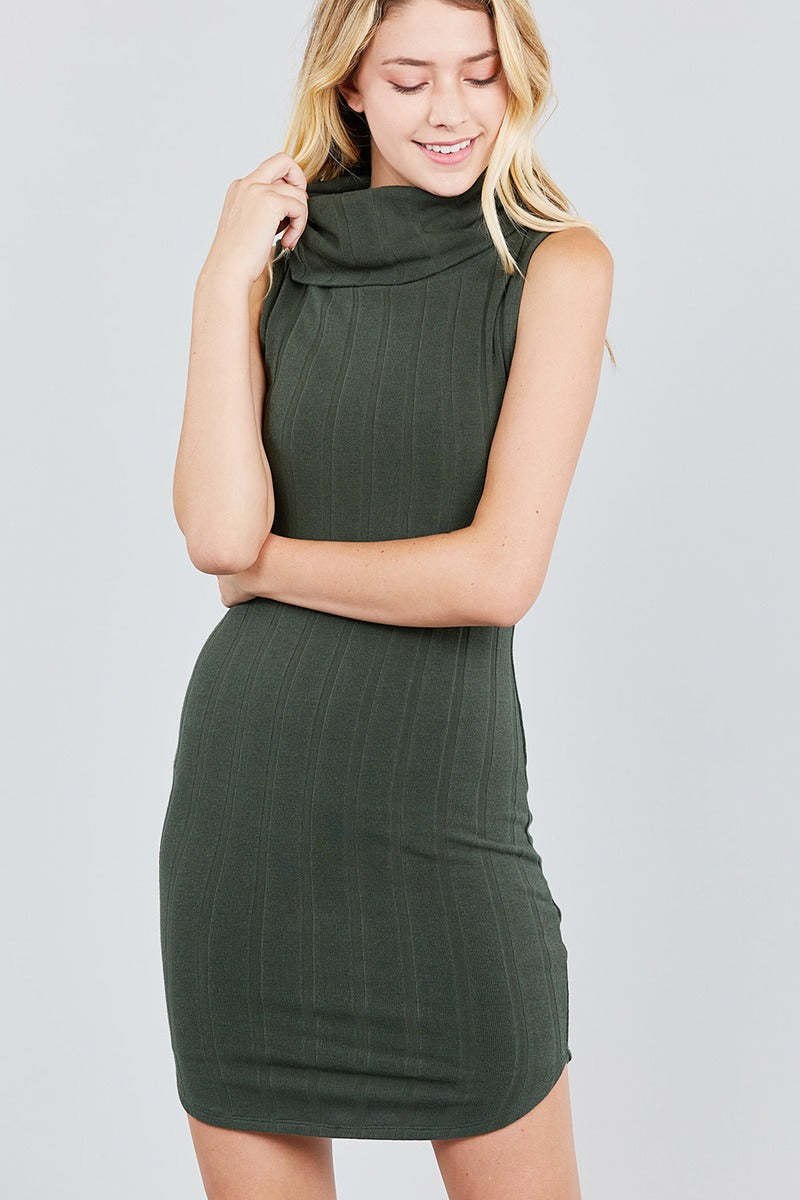 Sleeveless Cowl Neck Rib Mini Dress - crespo-cynergy