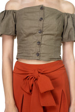 Load image into Gallery viewer, Button Down Puff Sleeve Crop Top - crespo-cynergy