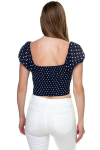 Polka Dot Button Down Cropped Top - crespo-cynergy
