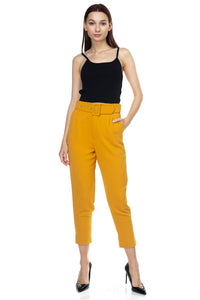 Crinkled Belted Skinny Pants - crespo-cynergy