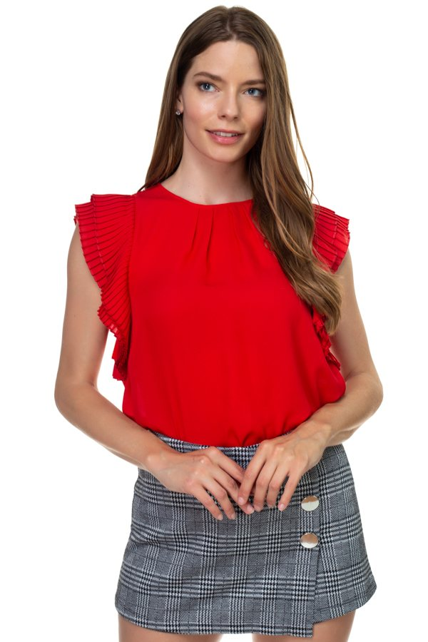 Accordion Pleated Short Sleeve Shirt - crespo-cynergy