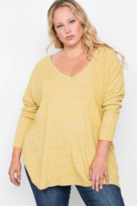 Plus size heather grey knit long sleeve top - crespo-cynergy