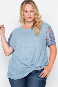 Plus size blue short lace sleeves knit top - crespo-cynergy