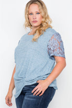 Load image into Gallery viewer, Plus size blue short lace sleeves knit top - crespo-cynergy